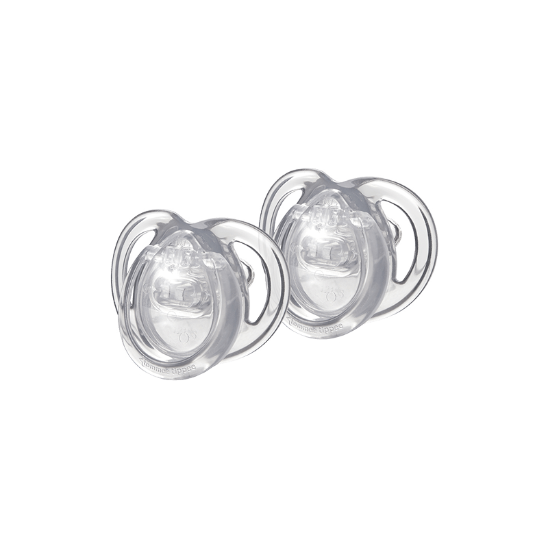 Two clear newborn soothers