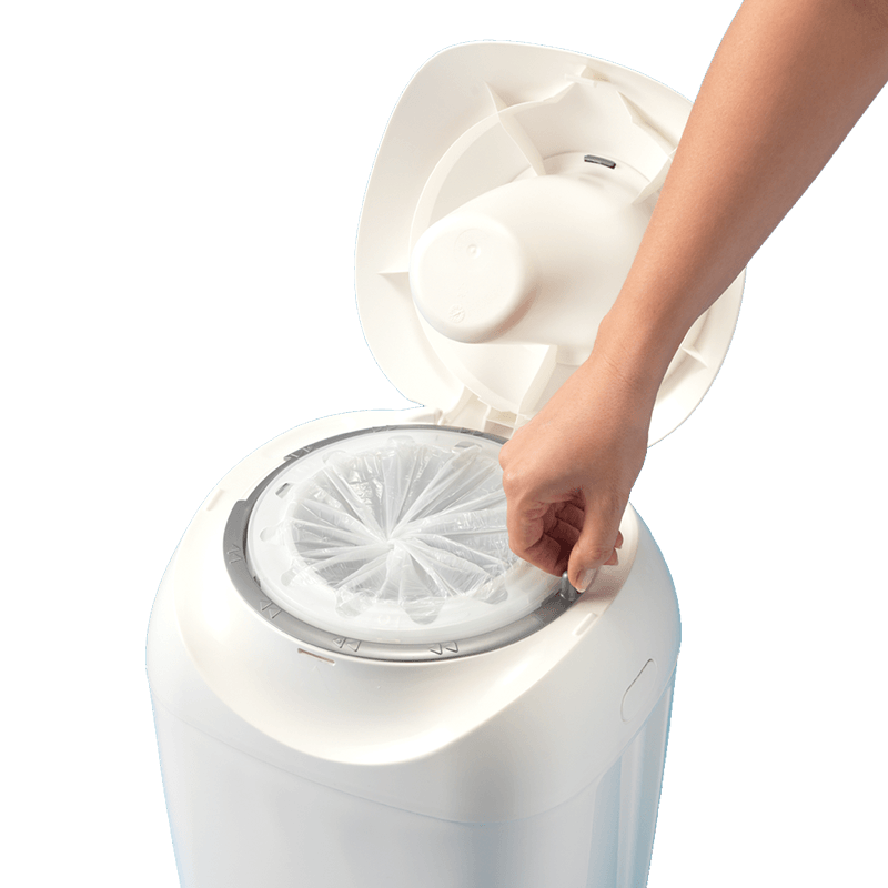White Open Sangenic Tec Nappy Bin showing twist and click feature