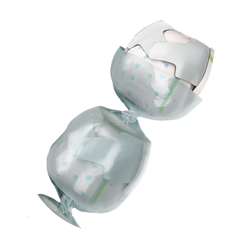 Nappys in out layer cassette showing odor protection