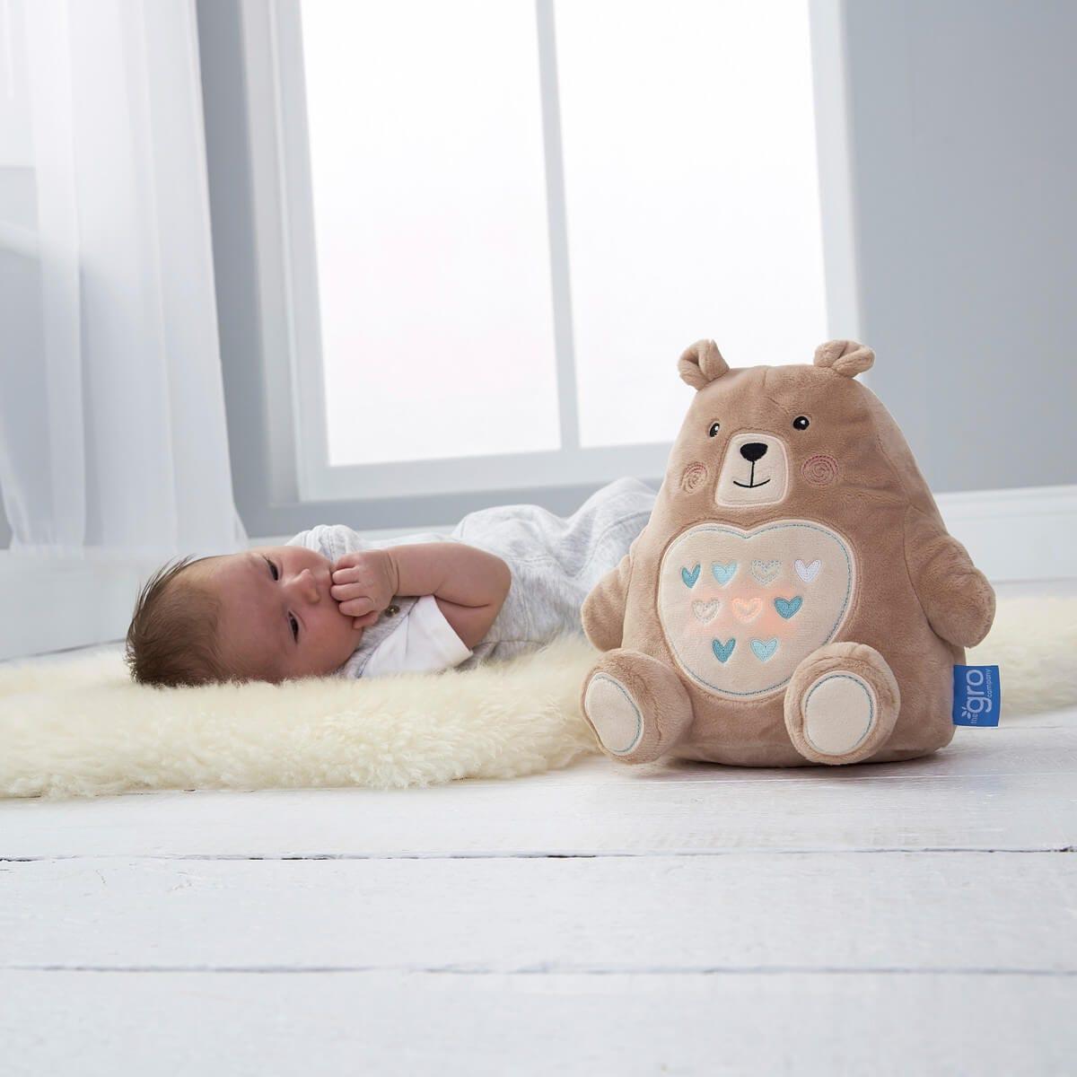 baby-lying-on-fur-rug-next-to-bennie-the-bear-grofriend