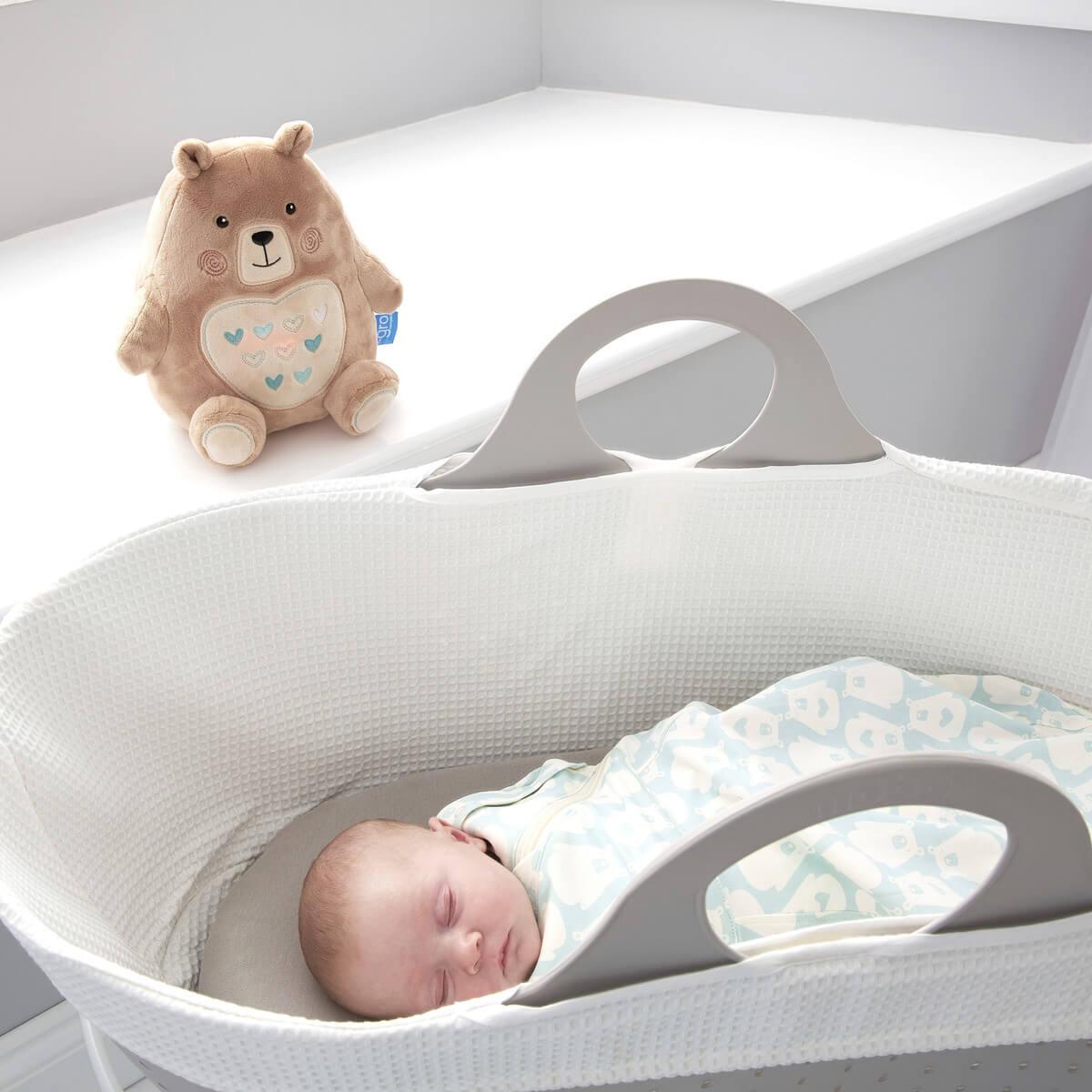 baby-asleep-in-sleepee-basket-wearing-bennie-grosnug-with-bennie-bear-grofriend-in-background