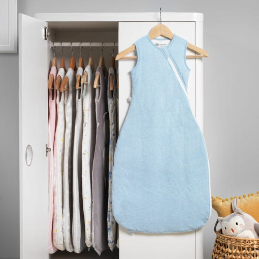 The Original Grobag Blue Marl Sleepbag hanging up