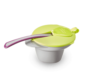 Single green Tommee Tippee cool and mash bowl with purple spoon