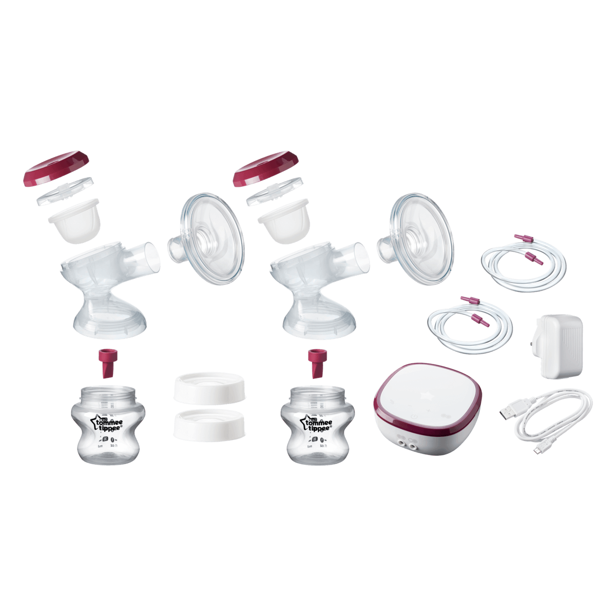 Exploded shot of Double Electric Breast Pump