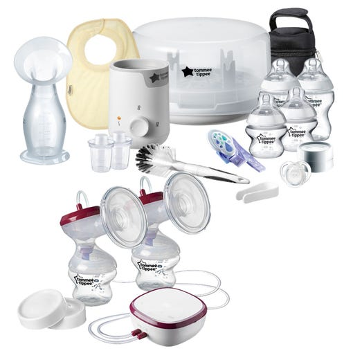 Baby breastfeeding pack with breast pumps, bottles and steriliser