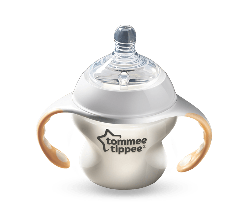 Tommee Tippee Closer to Nature bottle with a yellow milk bottle handle