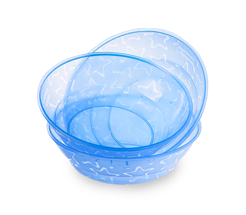 Blue Essential Feeding Bowls stacked on top of each other.