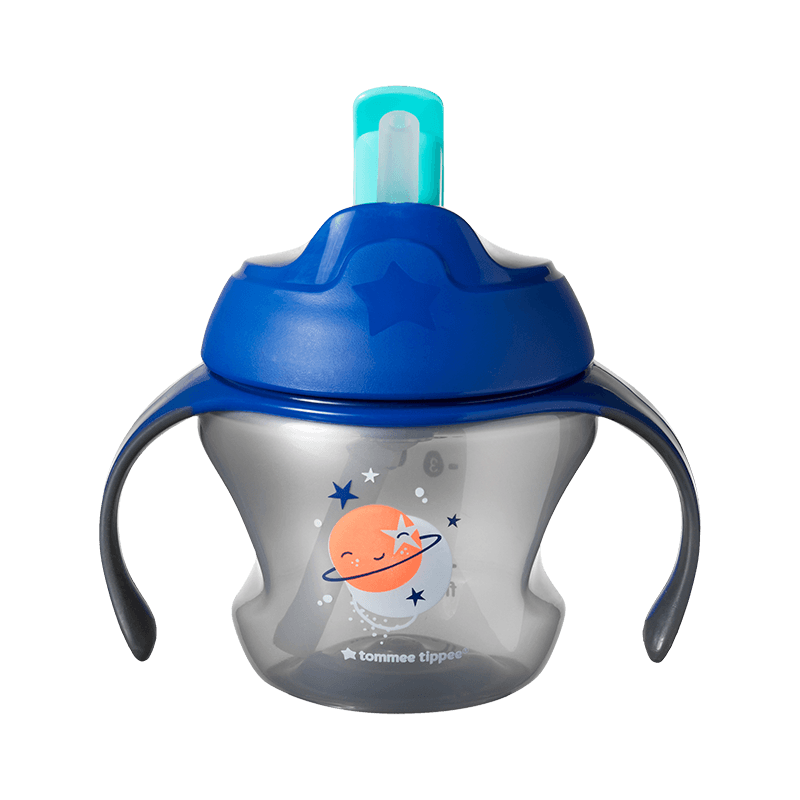 Blue lid Tommee Tippee First Straw Cup with pictures of planets on the front
