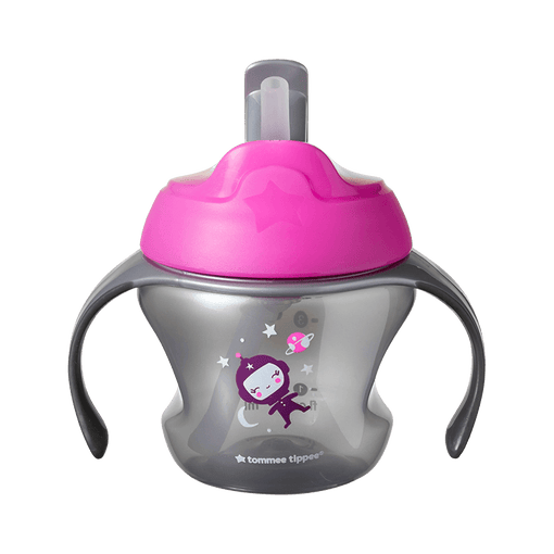 Pink Tommee Tippee First Straw Cup with image of astronaut and planets on the front.