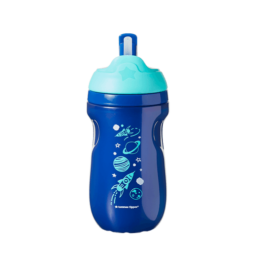 Blue Insulated Straw Cup with planet design
