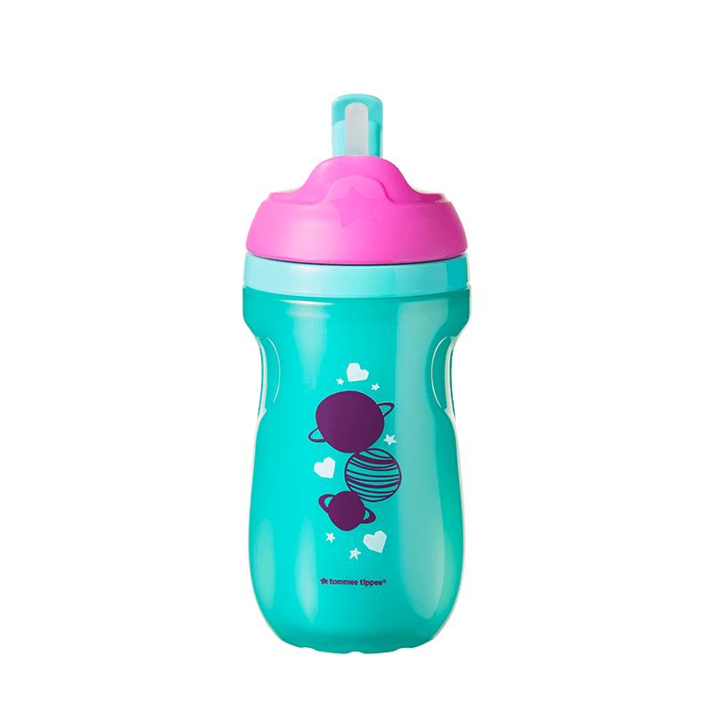 Green and pink Insulated Straw Cup with planet design