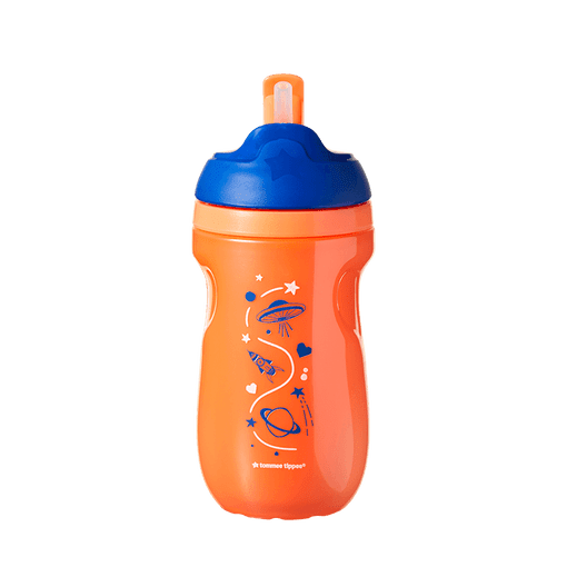 Orange and blue insulated straw cup with planet design