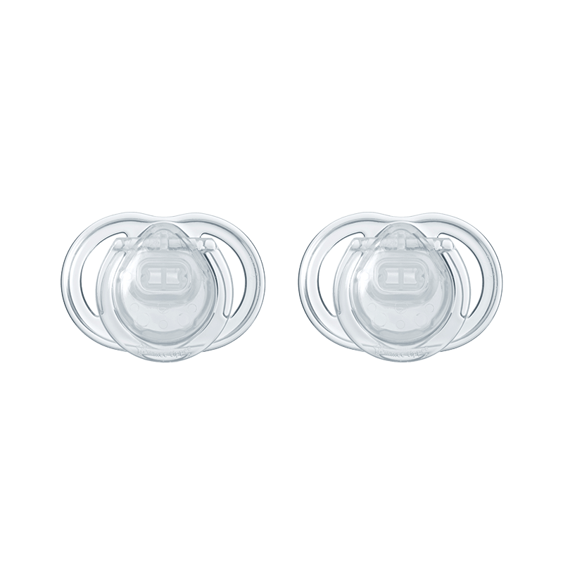 Two clear newborn baby soothers