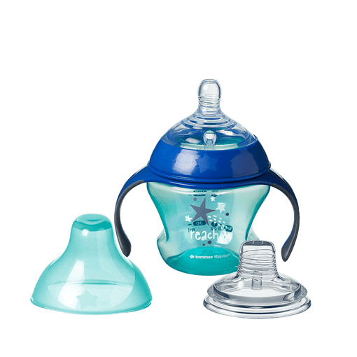 Blue Tommee Tippee Transition Trainer cup with star design, with teat and lid.