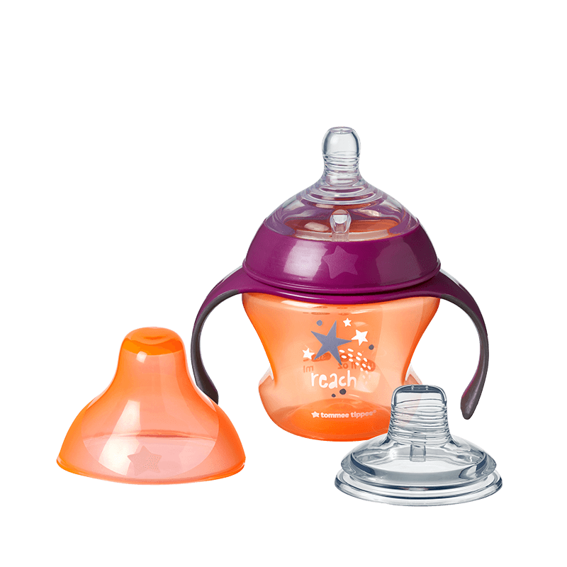 Orange Tommee Tippee Transition Sippee Cup with star design, teat and lid