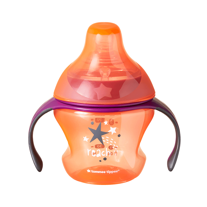 Orange Tommee Tippee Transition Sippee Cup with star design