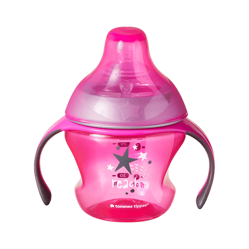 Pink Tommee Tippee Transition Sippee Cup with star design