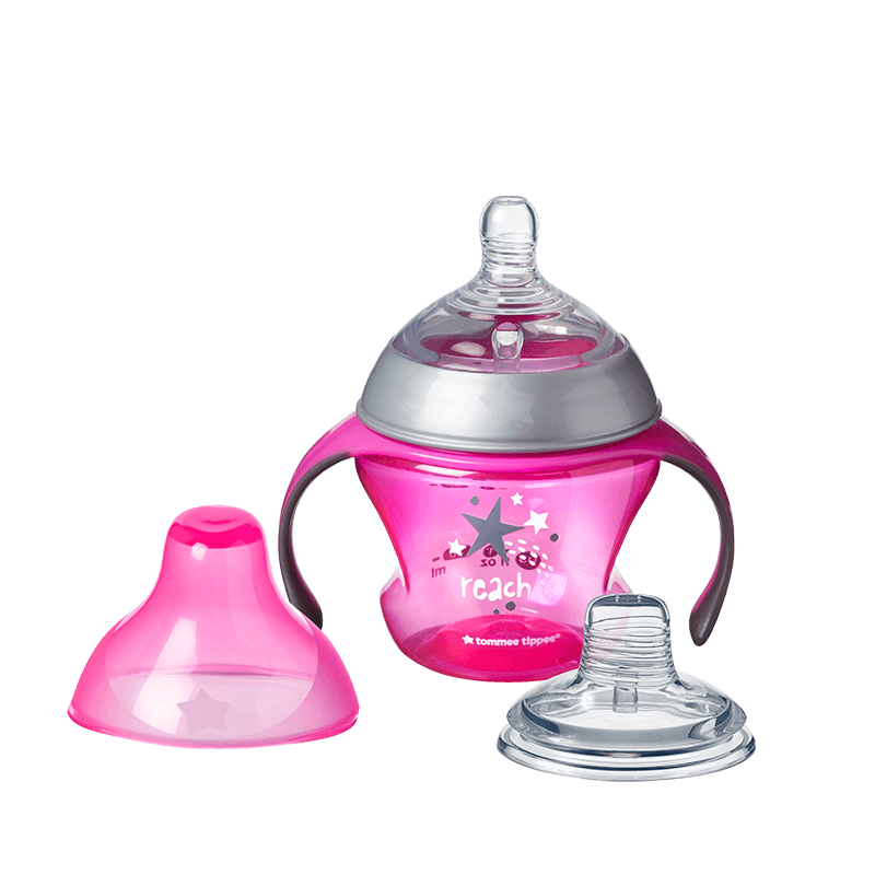 Pink Tommee Tippee Transition Sippee Cup with star design, teat and lid