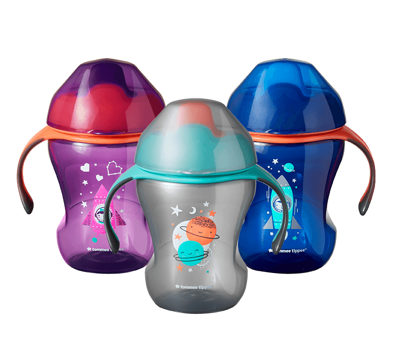 collection-of-trainer-sippee-cups-in-purple-silver-and-blue-with-space-kid-designs-for-babies-age-seven-months-plus