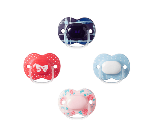 Four Little London Soothers, red dotty, blue, dark blue tartan and pink flowers