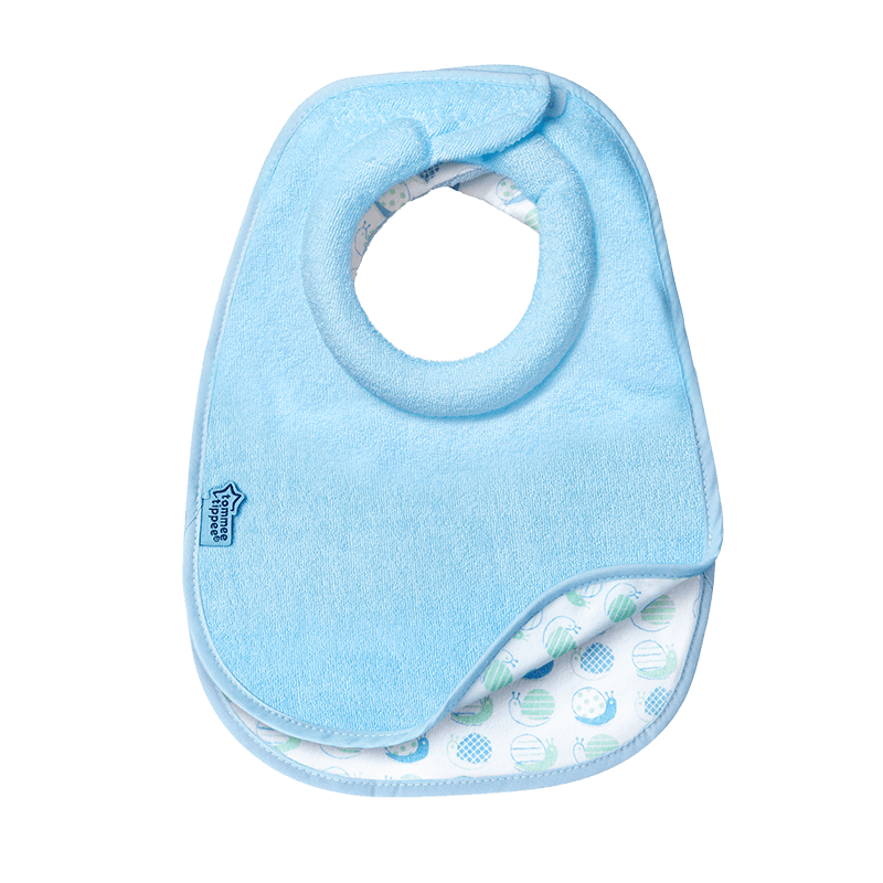 Blue milk feeding bib showing snail design at the bottom