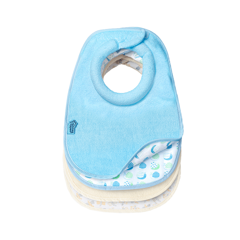 Blue Tommee Tippee milk feeding bib showing snail underneath design