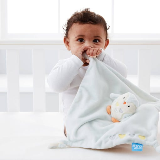baby-sitting-up-in-cot-chewing-percy-comforter
