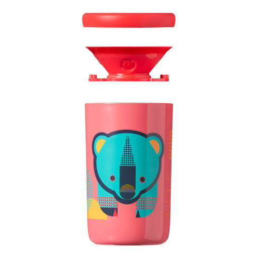 coral-pink-Easiflow-360°-Cup-with-bear-design-with-filter-and-lid