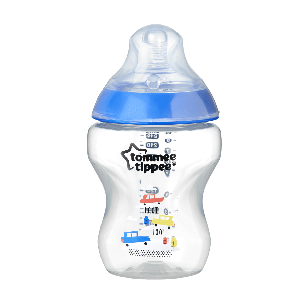Single Closer to Nature Toot Toot Baby Bottle in blue