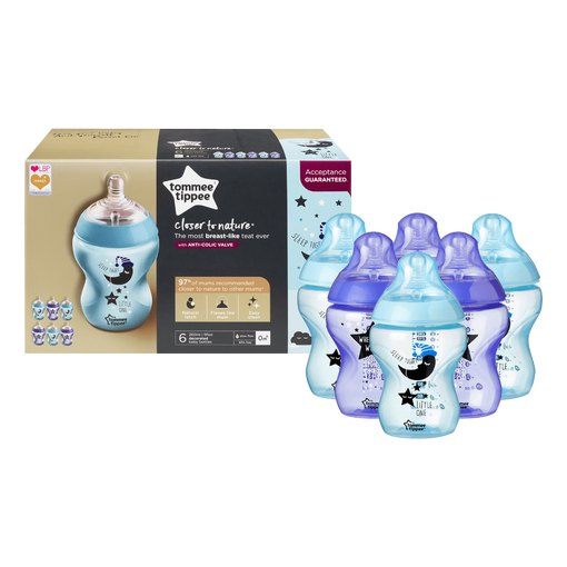 Closer-to-nature-sleep-tight-little-one-baby-bottle-6-pack-blue-and-purple-with-moon-and-stars-design-with-packaging-in-background
