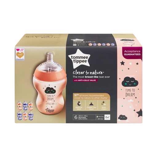 packaging-for-Closer-to-nature-time-to-dream-baby-bottle-6-pack-pink-and-purple-with-cloud-and-stars-design