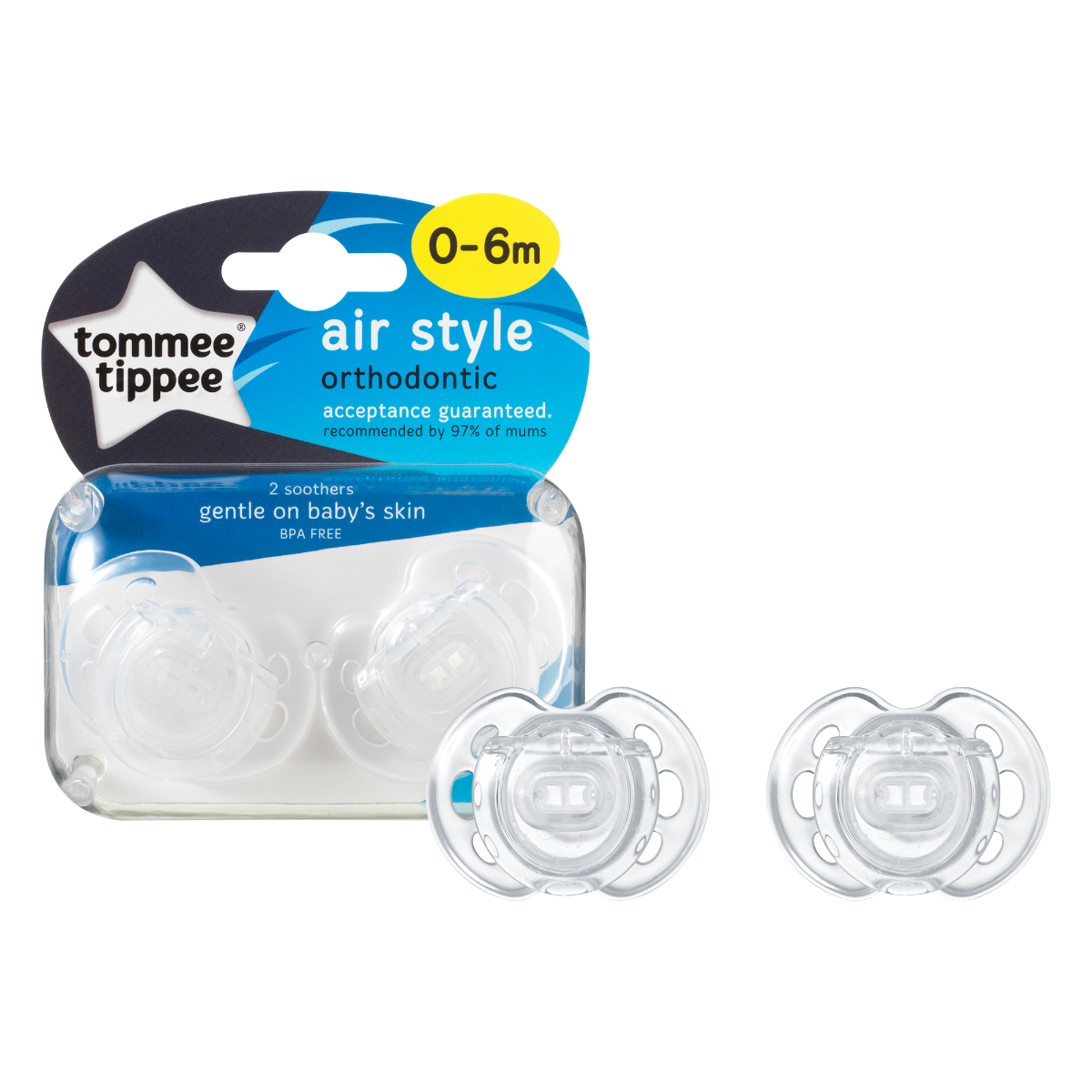 2-pack-clear-0-6-months-air-style-soother-next-to-packaging