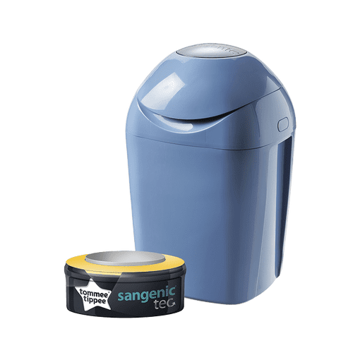 Blue closed Sangenic Tec Nappy Bin with one refill cassette in packaging