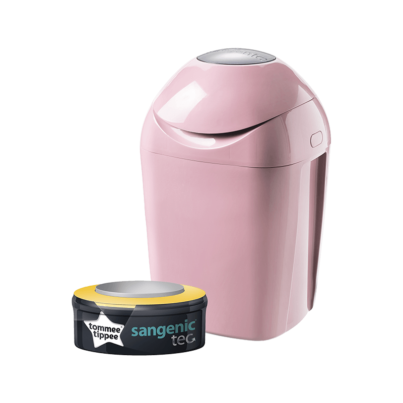 Pink closed Sangenic Tec Nappy Bin with one refill cassette in packaging