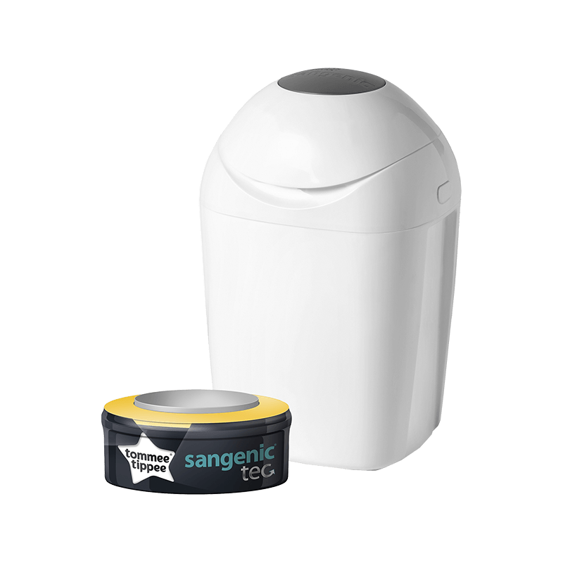 White closed Sangenic Tec Nappy Bin with one refill cassette in packaging