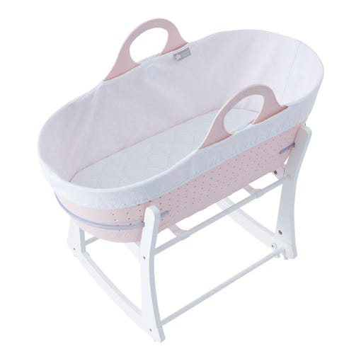 Pink sleepee moses basket with stand overview