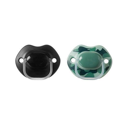 Two black and green newborn Tommee Tippee Meme Soothers