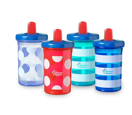 4 Tommee Tippee Super Sippee Cups, red, blue and green