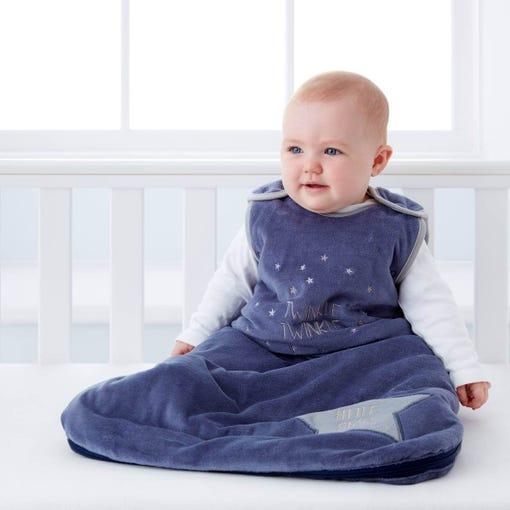 baby-sitting-in-cot-wearnig-grobag-blue-twinkle-twinkle