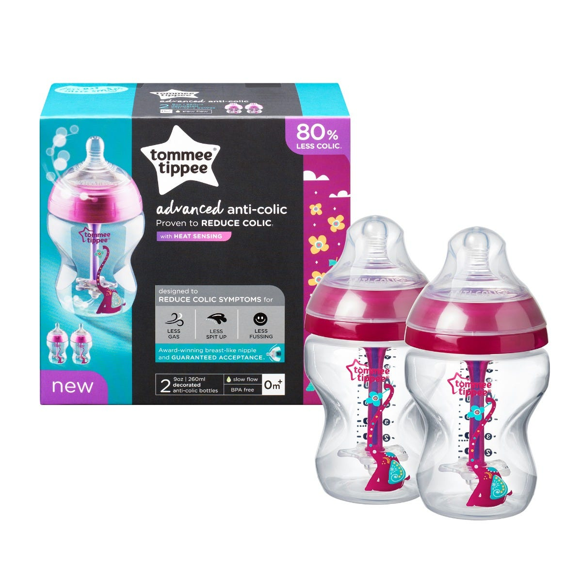2-x-9-oz-advanced-anti-colic-baby-bottles-with-red-elephant-design with packaging