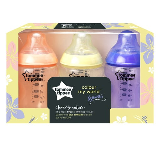 Closer to Nature Color My World Baby Bottles 9fl oz - 3 pack in packaging