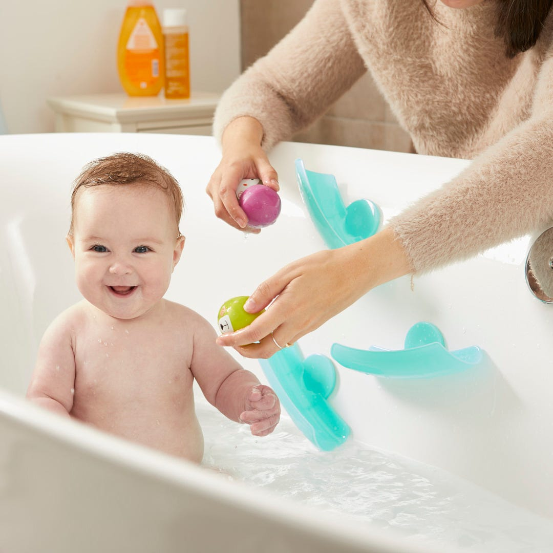 mum and baby playing in bath with Splashtime Waterfall Bath Toys