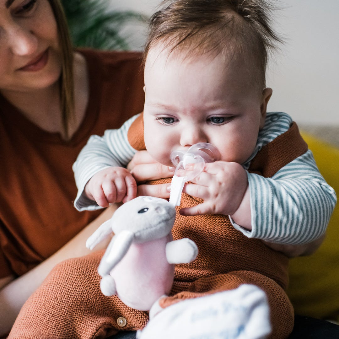 baby holding rabbit paci snuggie